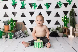 Scottsdale Cake Smash Photography | Luca Cactus Cake Smash